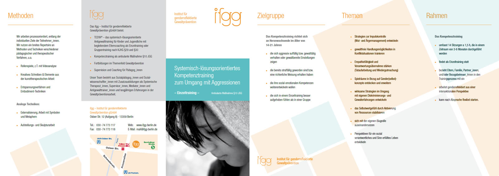 Flyer Kompetenztraining Einzeltraining ifgg ambulante Massnahme JGG §10g